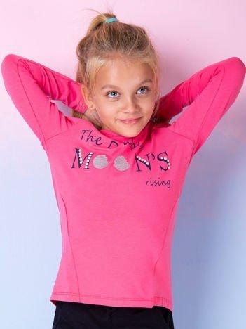 Ciemnoróżowa bluzka dla dziewczynki z tekstowym nadrukiem