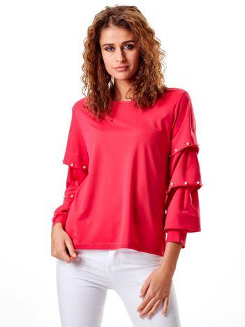 Ciemnoróżowa bluzka z drapowanymi rękawami i perełkami