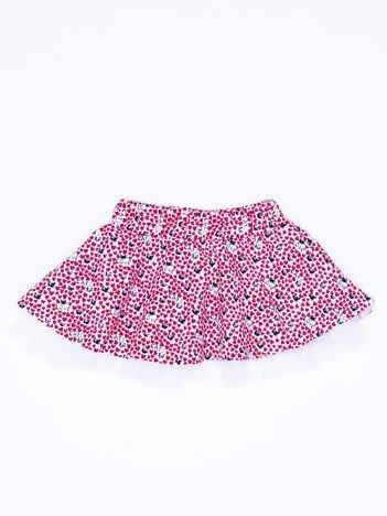 Ciemnoróżowa rozkloszowana spódnica dla dziewczynki z nadrukiem