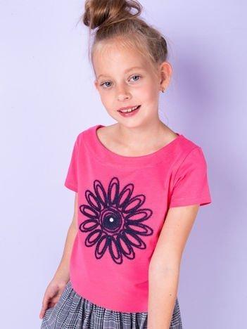 Ciemnoróżowa tunika dla dziewczynki z kwiatem