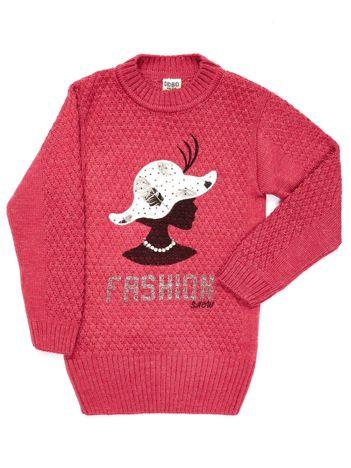 Ciemnoróżowy sweter dla dziewczynki z aplikacją