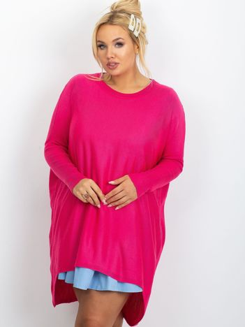Ciemnoróżowy sweter plus size Ester