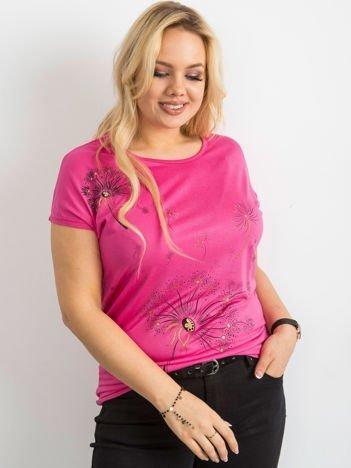 Ciemnoróżowy t-shirt damski z nadrukiem PLUS SIZE