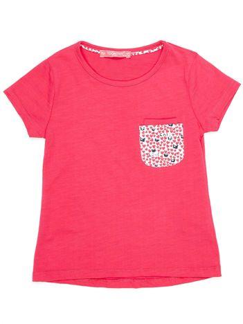 Ciemnoróżowy t-shirt dla dziewczynki z kieszonką