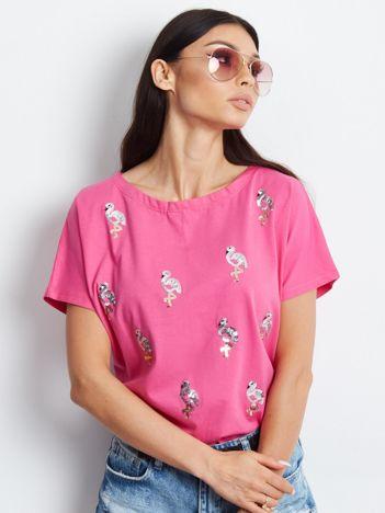 Ciemnoróżowy t-shirt z cekinowymi ptakami