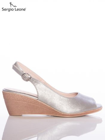 Ciemnosrebrne sandały Sergio Leone zapinane na sprzączkę