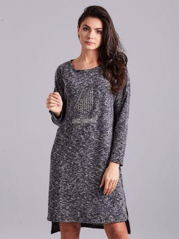 Ciemnoszara asymetryczna sukienka z aplikacją