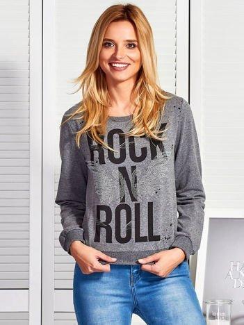 Ciemnoszara bluza ROCK N ROLL