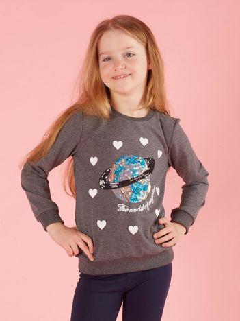 Ciemnoszara bluza dla dziewczynki z aplikacją