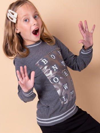 Ciemnoszara bluza dla dziewczynki z nadrukiem i perełkami