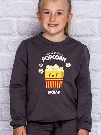 Ciemnoszara bluza dziecięca z popcornem