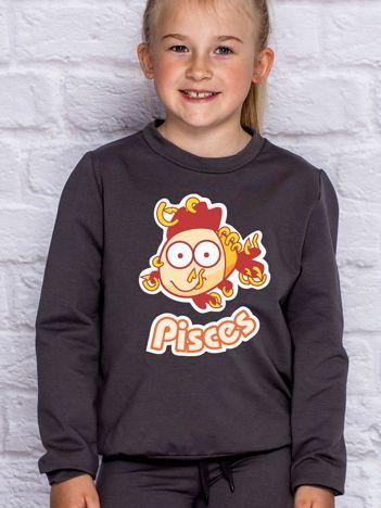 Ciemnoszara bluza dziecięca znak zodiaku RYBY