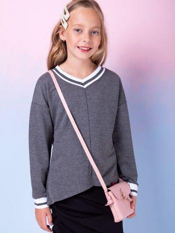 Ciemnoszara bluza dziewczęca V-neck ze ściągaczami