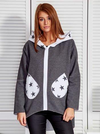 Ciemnoszara bluza z kapturem w gwiazdki