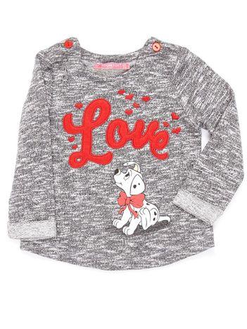 Ciemnoszara bluzka dla dziewczynki z bajkowym nadrukiem