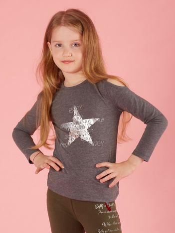 Ciemnoszara bluzka dla dziewczynki z dżetami