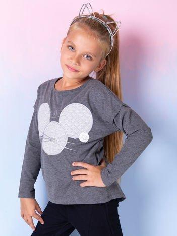 Ciemnoszara bluzka dla dziewczynki z pikowaną wstawką
