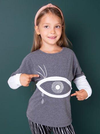 Ciemnoszara bluzka dla dziewczynki z pikowanymi rękawami