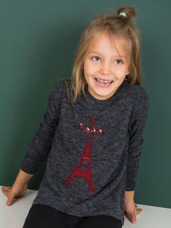 Ciemnoszara bluzka dziewczęca z cekinową aplikacją PARIS