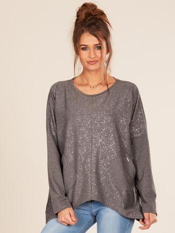Ciemnoszara bluzka oversize z kieszeniami