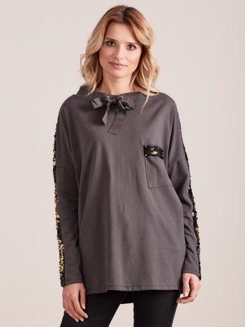 Ciemnoszara bluzka z wiązaniem i cekinami