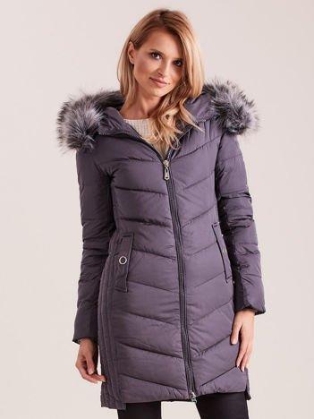Ciemnoszara długa kurtka na zimę