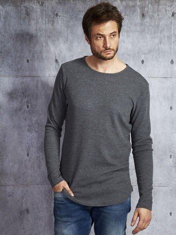 Ciemnoszara dłuższa bluzka męska