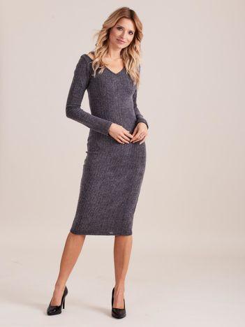 Ciemnoszara dopasowana sukienka cold shoulder