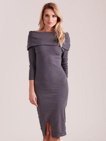Ciemnoszara dopasowana sukienka z odkrytymi ramionami