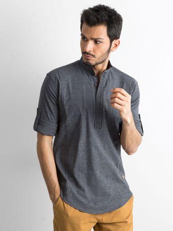 Ciemnoszara koszula męska regular fit ze stójką