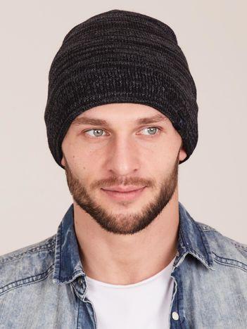 Ciemnoszara melanżowa męska czapka beanie
