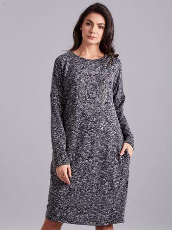 Ciemnoszara melanżowa sukienka z aplikacją