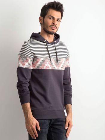 Ciemnoszara męska bluza we wzory