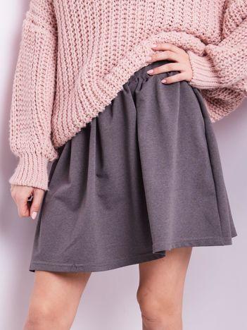Ciemnoszara rozkloszowana dresowa spódnica z kieszeniami