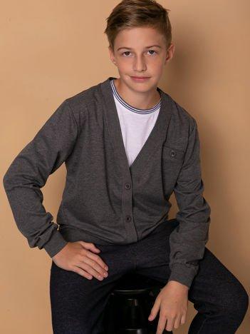 Ciemnoszara rozpinana bluza dla chłopca