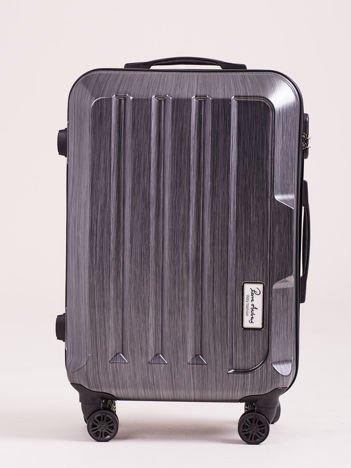 Ciemnoszara średnia walizka twarda