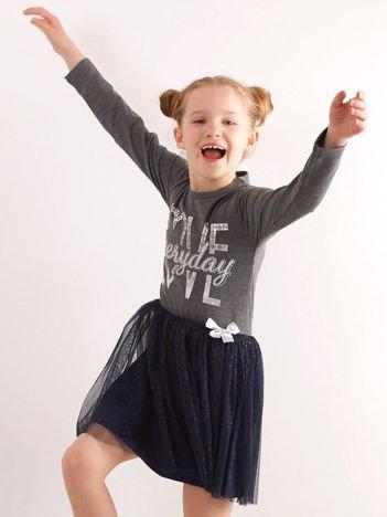 Ciemnoszara sukienka dla dziewczynki z tiulem