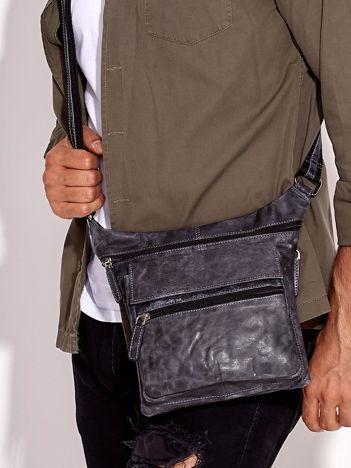 Ciemnoszara torba męska ze skóry naturalnej z kieszeniami