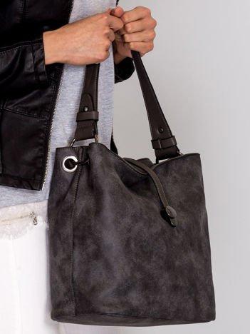 Ciemnoszara torba na ramię z odpinanym paskiem