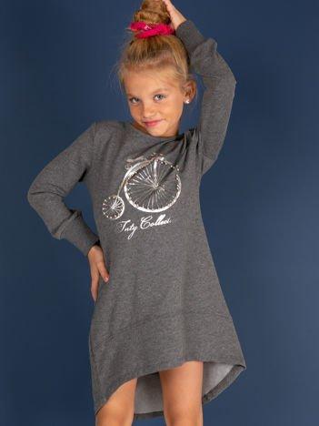 Ciemnoszara tunika dziewczęca z nadrukiem i perełkami