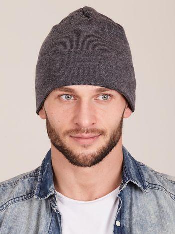 Ciemnoszara wywijana czapka męska