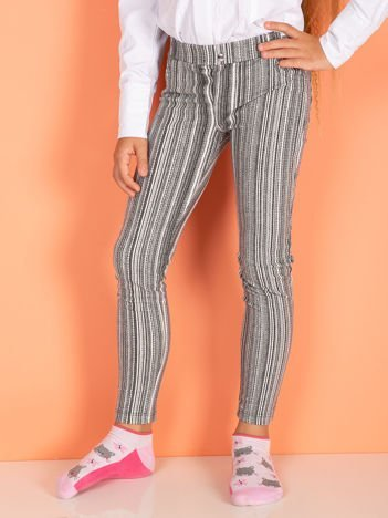 Ciemnoszare bawełniane legginsy dla dziewczynki w paski