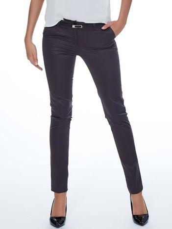 Ciemnoszare eleganckie spodnie damskie z paskiem