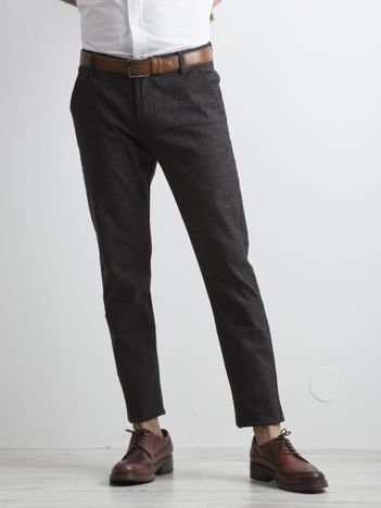 Ciemnoszare melanżowe spodnie męskie regular