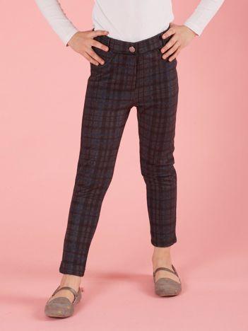 Ciemnoszare spodnie dla dziewczynki w kratę