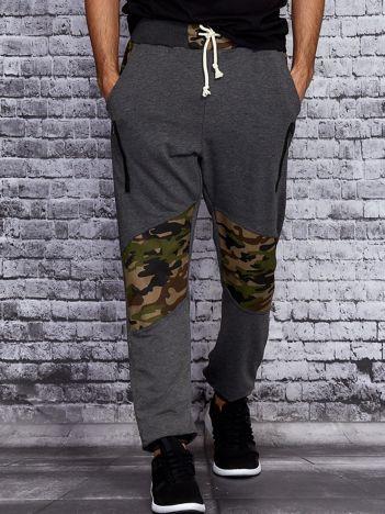 Ciemnoszare spodnie dresowe męskie z wstawkami moro