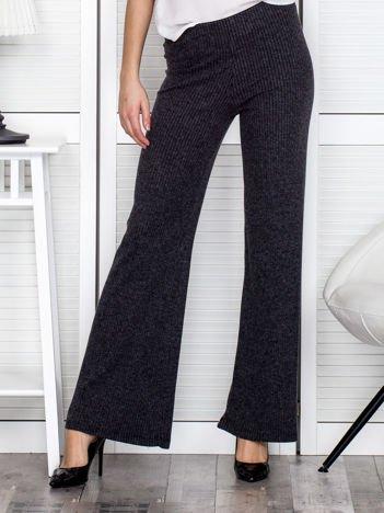 Ciemnoszare szerokie spodnie w prążek