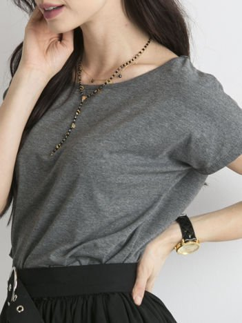Ciemnoszary melanżowy t-shirt Circle