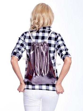 Ciemnoszary metaliczny plecak worek