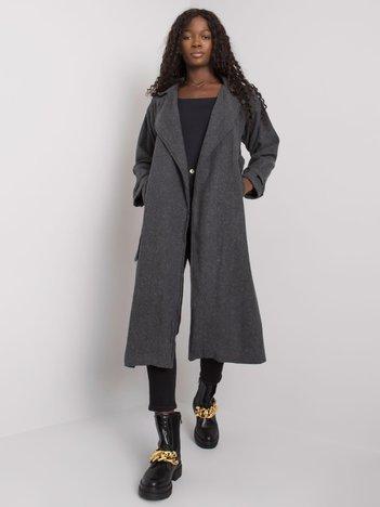 Ciemnoszary płaszcz z wiązaniem Karmina